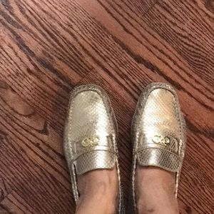 Gold Driving Cole Haan moccasins